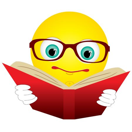 cartoon math: Smiley-ball in glasses read red book Stock Photo