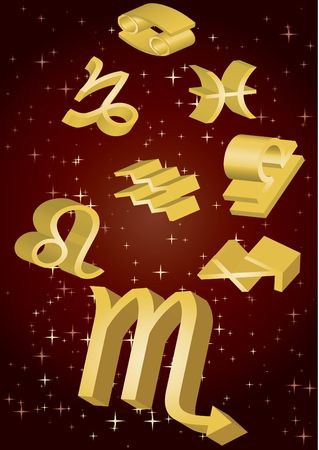 zodiak: Gold zodiacal signs fly in space, vector illustration Stock Photo