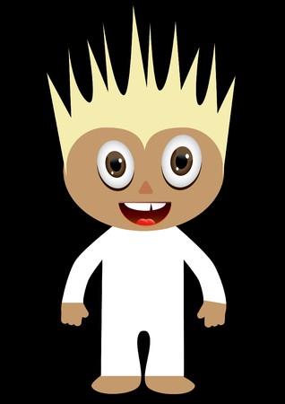 travesty: Cartoon boy in white costume