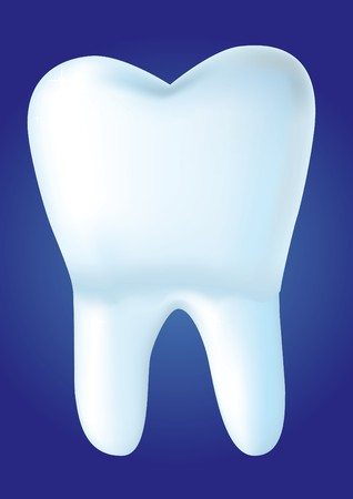 Tooth on blue background,  illustration made with mesh Stock Illustration - 7051106