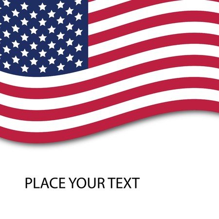 American flag isolated on white, with the place for your text,  Illustration  illustration