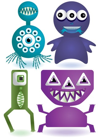 Set of cute cartoon monsters or aliens.  illustration  Stock Illustration - 7051115