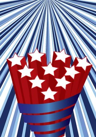 Background with elements of USA flag,  illustration Stock Illustration - 7051122