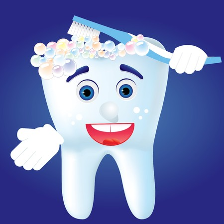 cartoom: Tooth-cartoom clean himself, illustration