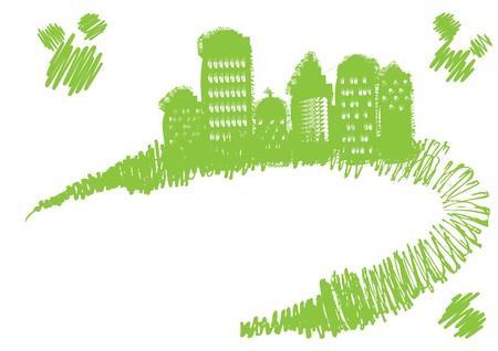 Grunge town stands on grunge curve, illustration