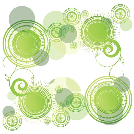 rounds: Green abstract background with rounds, illustration Illustration