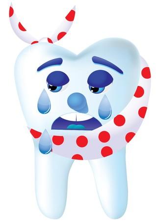 dientes con caries: Diente-dibujos animados llorar, porque duele, ilustraci�n