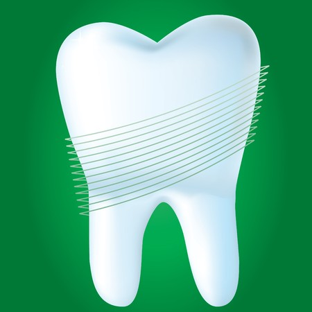 whites: Tooth on green background,  illustration made with mesh