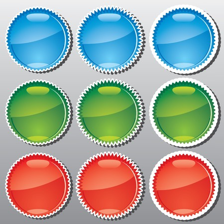 Set of glossy multicolored badges, part 1, vector illustration Stock Vector - 7144656