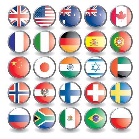 bandera francia: Botones de Web con banderas aislados en blanco. Nombre del pa�s como el nombre de la capa. F�cil de cambiar Vector ilustraci�n eps 10.  Vectores
