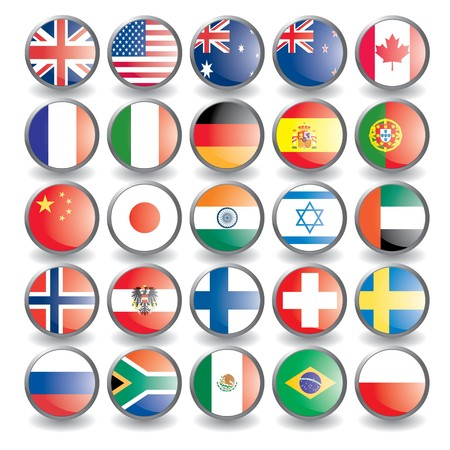 Web buttons with flags isolated on white. Name of the country as the name of the layer. Easy to change.. Vector illustration eps 10.