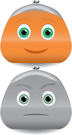 financial emergency: two purses characters with faces.  Illustration