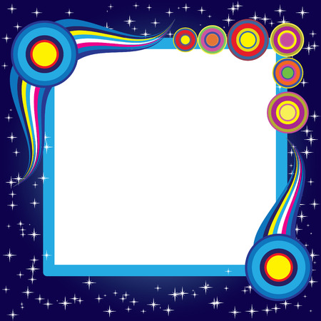Abstract background with retro elements and stars. Blue set. Simply change.  Stock Vector - 7178128
