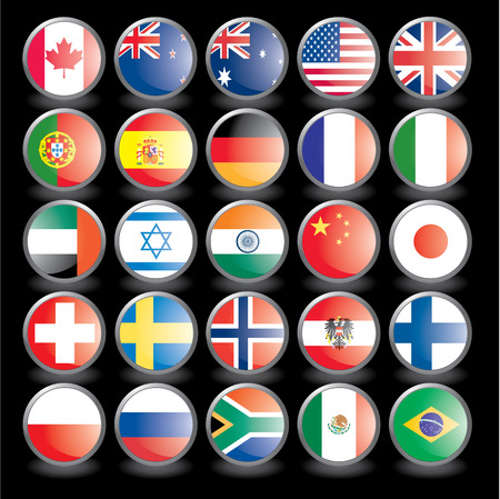 Web buttons with flags on black background. Name of the country as the name of the layer. illustration eps 10. Vectores