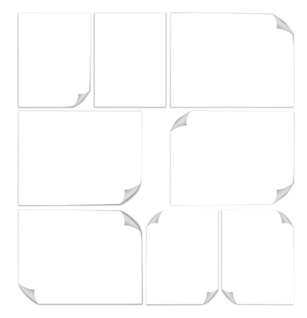 Set of 3d blank sheets of paper A4 format. Paper page with curl. illustration eps 10.0  Vector