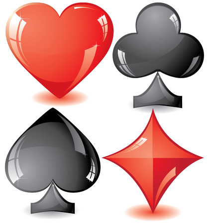 ace of diamonds: Set of shiny card suit