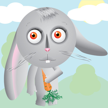 Little cartoon hare keeps carrot and looks up at field Vector