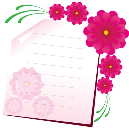 Background with sheet of paper and flowers, part 1.