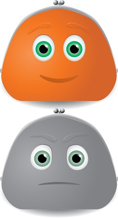 greyscale: Vector illustration of two purses characters with faces. One of them colorfull, orange, happy, full of money. Other - greyscale, sad, poor. Illustration
