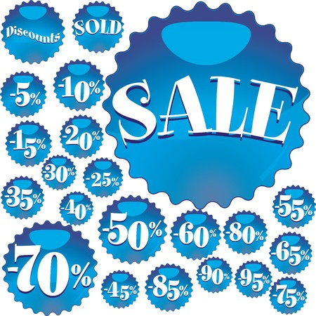 Big blue Sale stickers, vector illustration Vector
