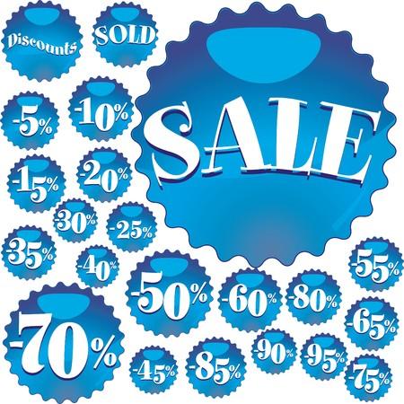 Big blue Sale stickers, vector illustration Stock Vector - 7239211