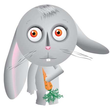 Little cartoon hare keeps carrot and looks up, illustration Vector