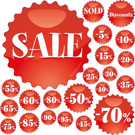Big red Sale stickers illustration Vector