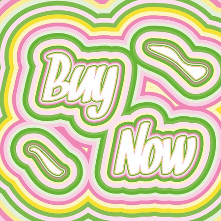 sellout: Buy Now words in 60s style,  illustration