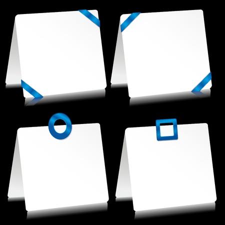 barrettes: Insieme di fogli di carta come nota pastiglie con mollette blu, illustrazione  Vettoriali