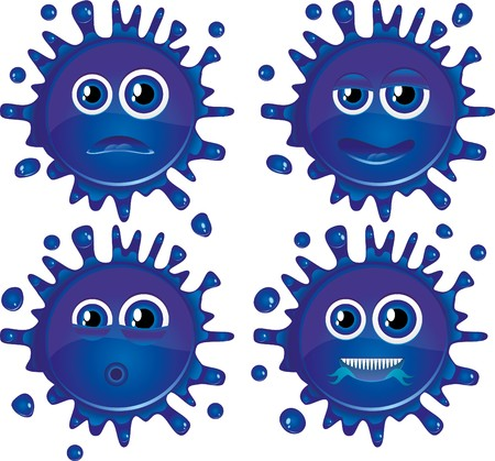 squashed: Set of blue  blots characters with different faces. Illustration