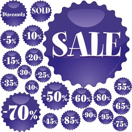 Big blue Sale stickers,  illustration Stock Vector - 7279045