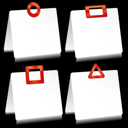 barrettes: Impostare di fogli di carta come nota pastiglie con mollette rosse, illustrazione