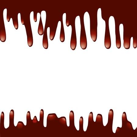 Patrón de goteo de jarabe de chocolate aislado en un fondo blanco, ilustración de vactor