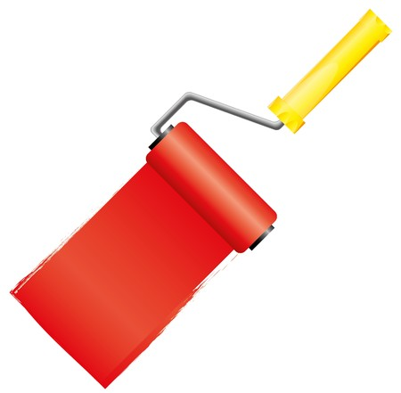 paintroller: Yellow paint roller brush with red paint,   illustration