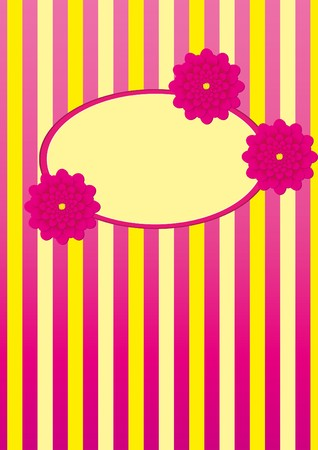 stripped background: Stripped background with flowers and frame for text