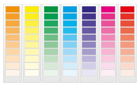 Color guide chart, cmyk rainbow background