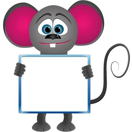 Mouse cartoon keeps frame for text Vector