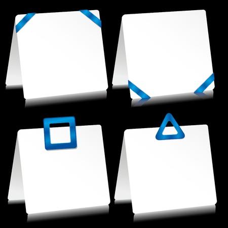 barrettes: Impostare di fogli di carta come nota pastiglie con mollette blu  Vettoriali