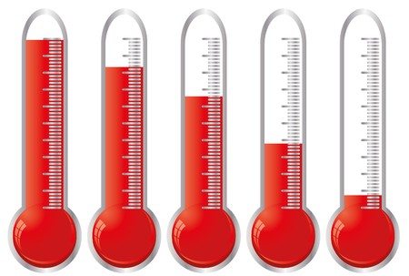 donating: Set of thermometers with different levels of indicator fluid