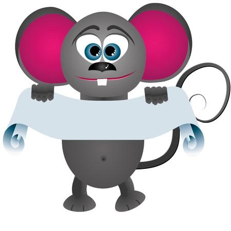 Mouse cartoon keeps scrol for text Vector