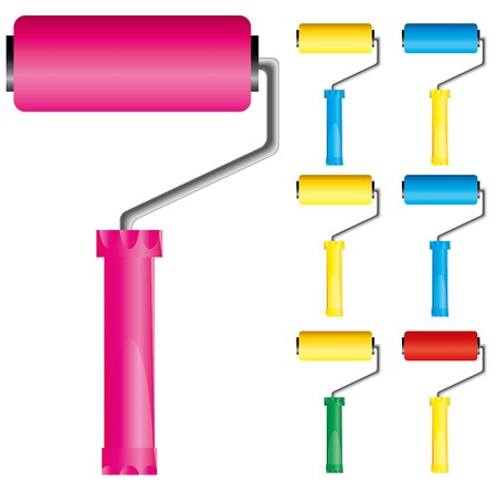 painted wall: Set of paint roller brushes with variations of colors: pink, blue, yellow and red