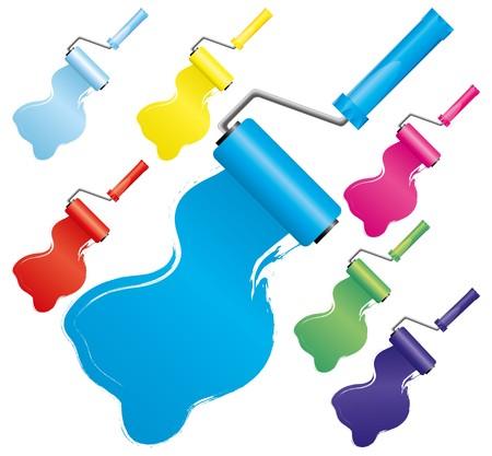 Set van kleurrijke verf roller borstels, deel 2, vector illustratie. Omvat kleuren: blauw, licht blauw, Marine, geel, rood, roze, groen.