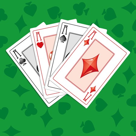solitaire: Background with four aces on green  greencloth