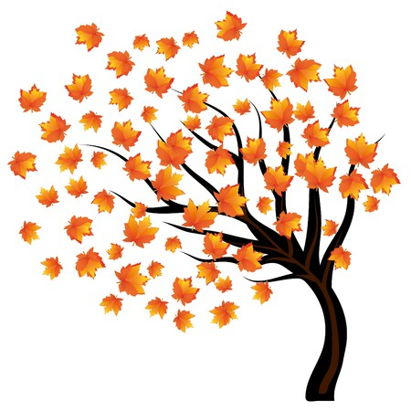 doldrums: Lonley tree with falling leaves on the wind Illustration