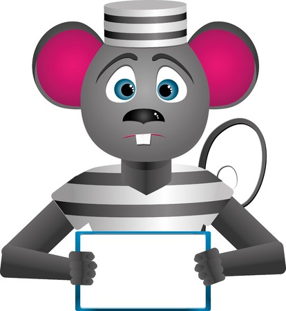Mouse prisoner character hold in his hands a message-bord for text Vector