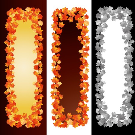 Autumn banners with maple leaves Vector