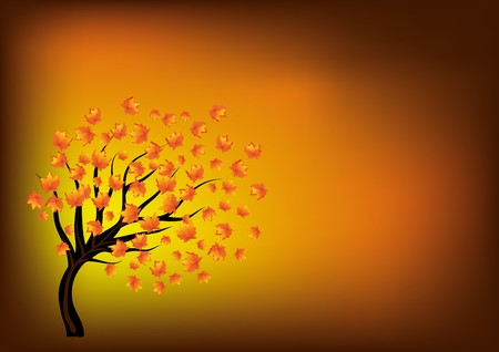 Autumn background with lonely tree,  illustration Vector
