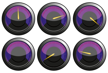 kilometre: Set of purple speedometers for car or power or thermometers,  illustration
