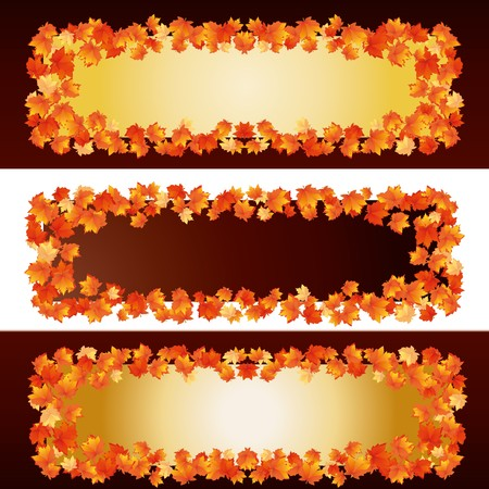Autumn banners with maple leaves, part 1,  illustration Vector