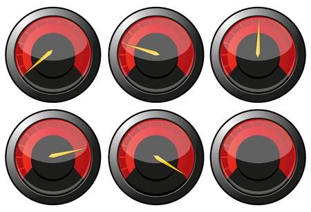 kilometraje: Conjunto de veloc�metro rojo para coche o poder o term�metros, ilustraci�n